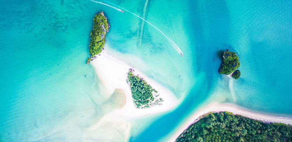 ocean and small islands - aerial photo