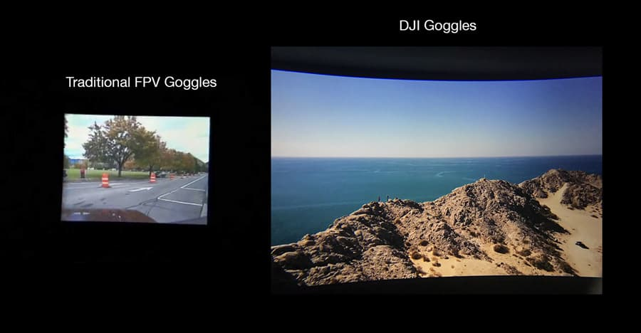 Traditional FPV goggles vs DJI Goggles. Photo by Myfirstdrone.com
