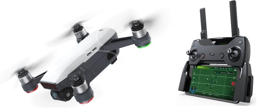 DJI Spark drone with controller and screen