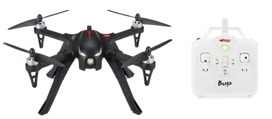 Black MJX Bugs 3 drone with white transmitter