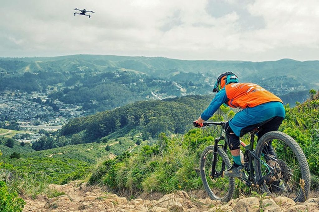 mountain biking drone